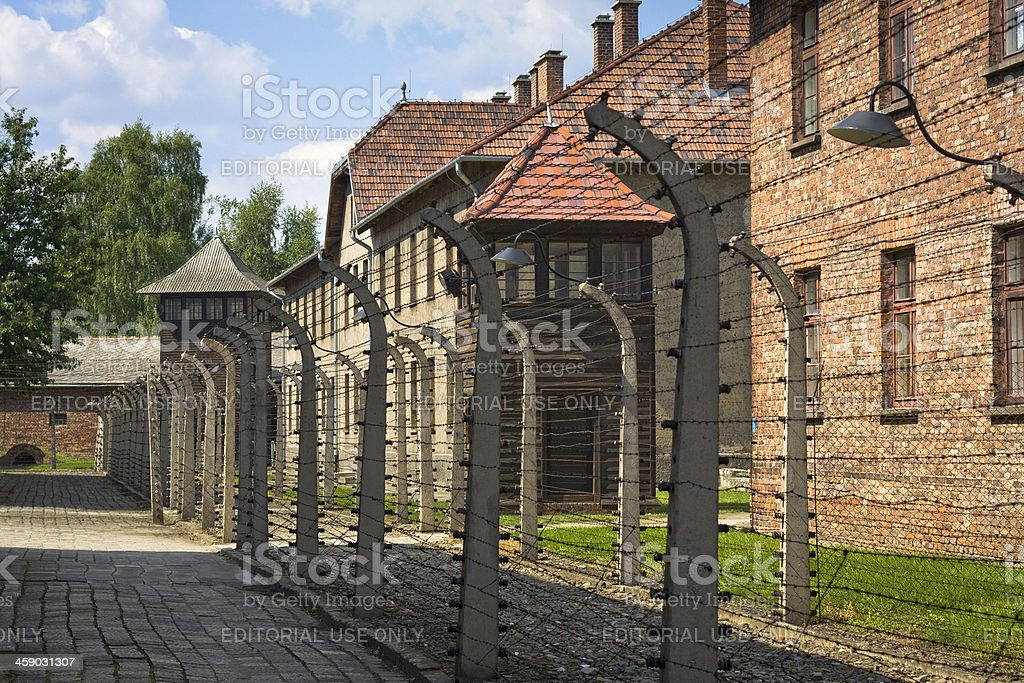 Security system in concentration camp, Auschwitz, Poland stock photo