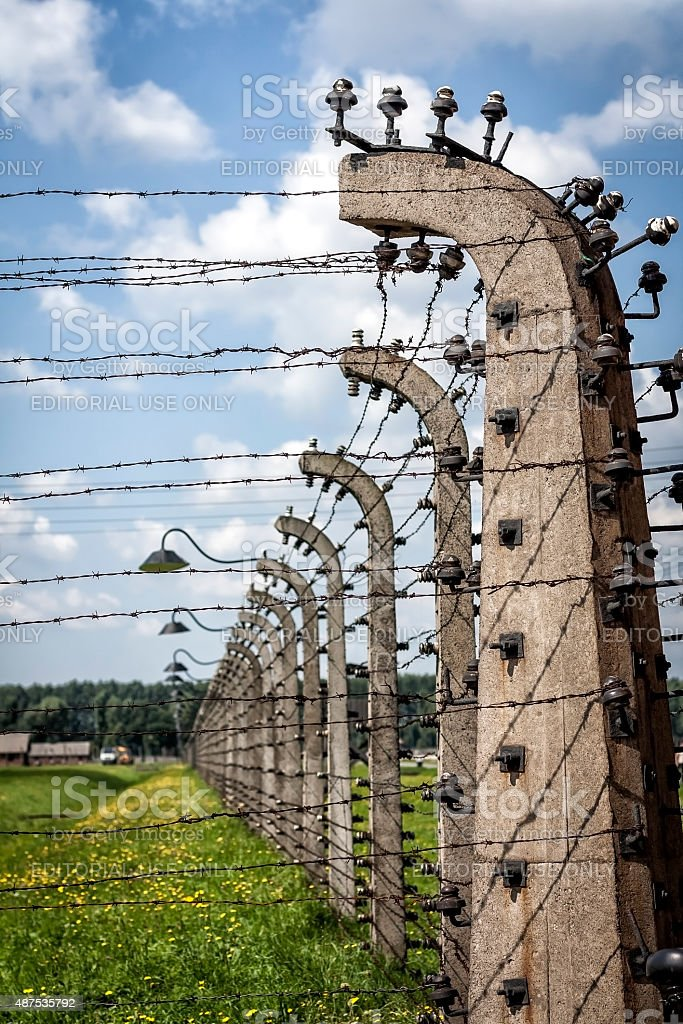 Security system in concentration camp, Birkenau, Poland stock photo