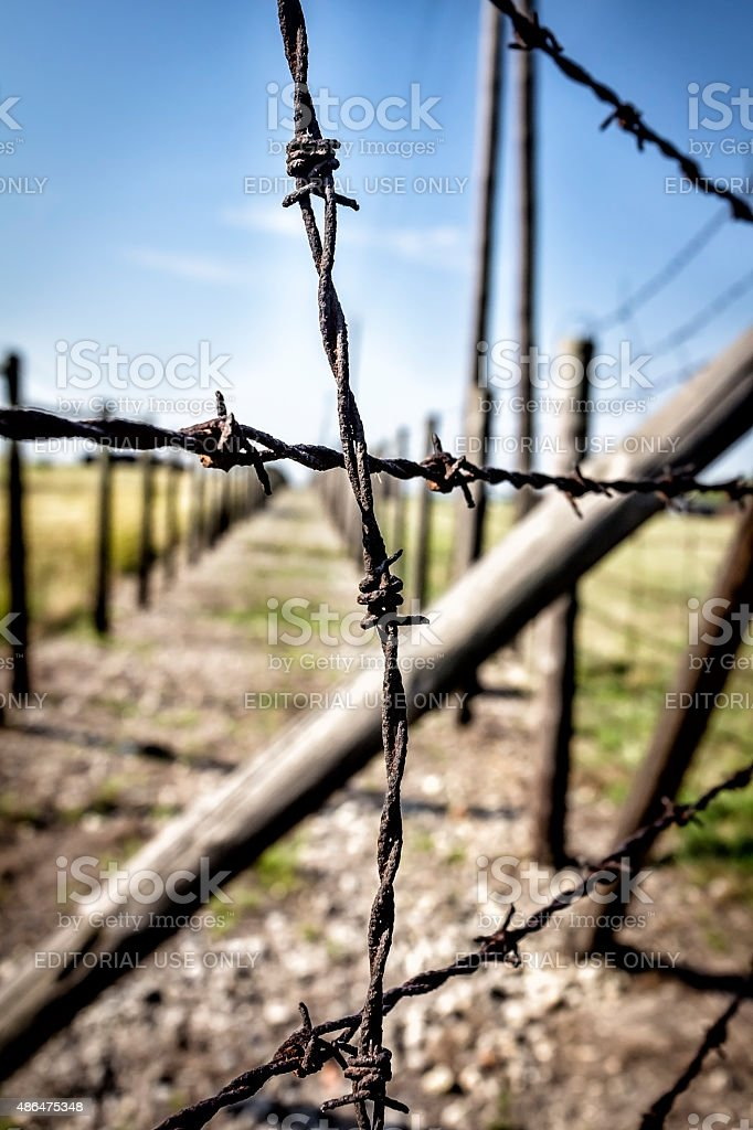 Security system in concentration camp, Majdanek, Poland stock photo