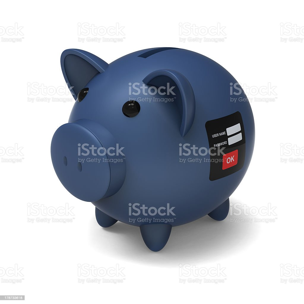 Security system of piggy bank royalty-free stock photo