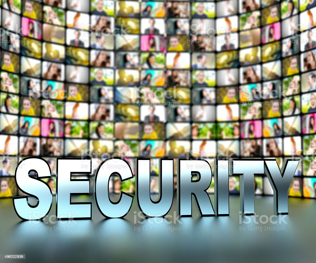 Security - tv screens with video stills showing many people stock photo