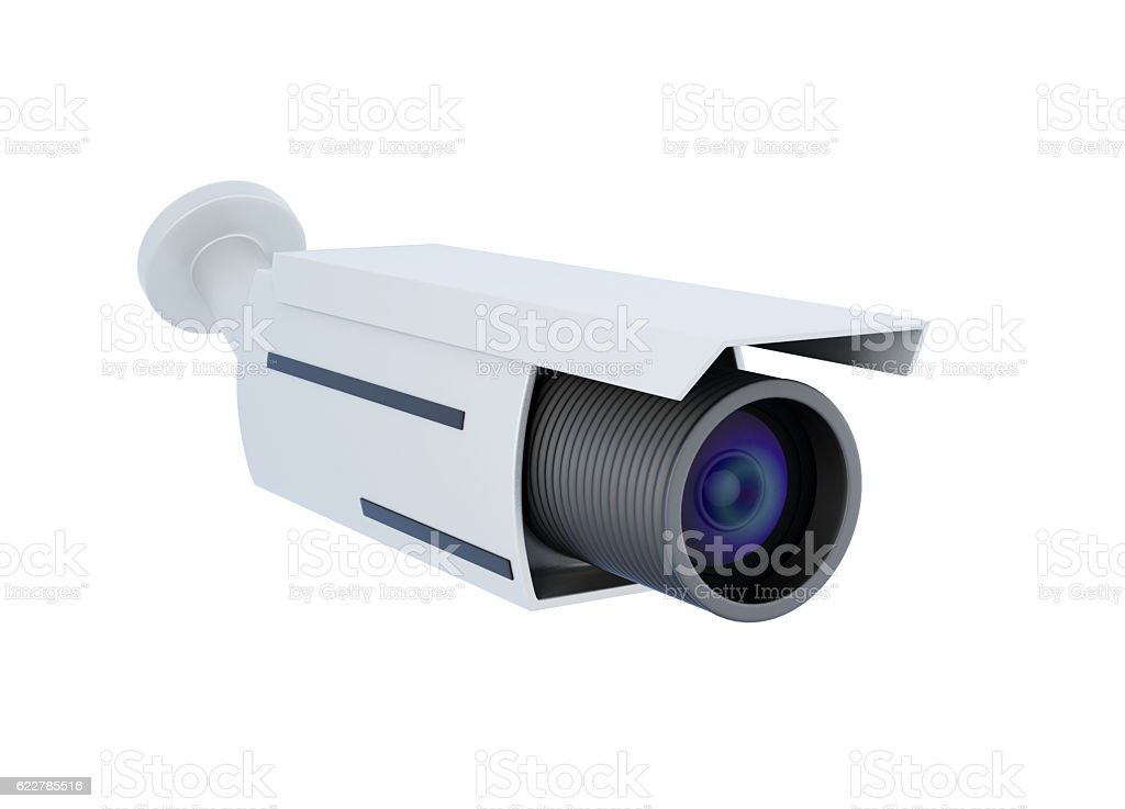 Security video camera. 3d rendering stock photo