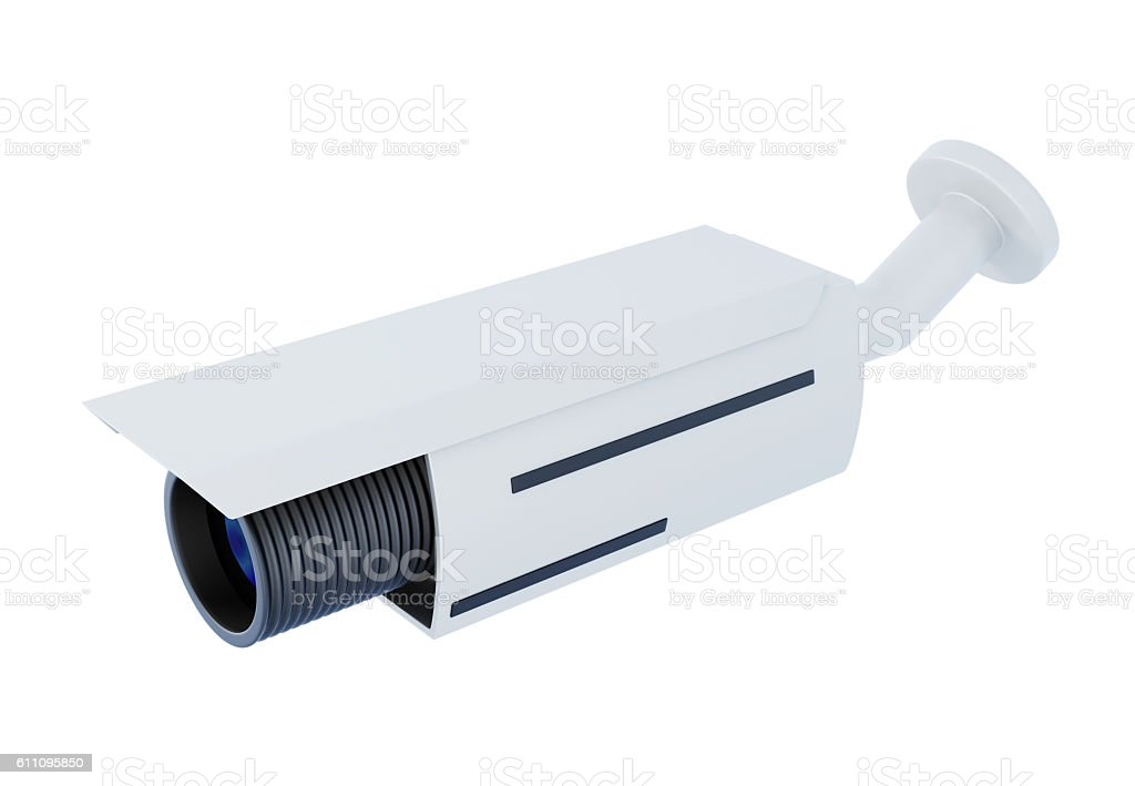 Security video camera on white background. 3d rendering stock photo