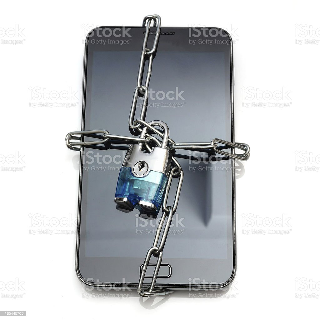security with mobile phone and lock stock photo