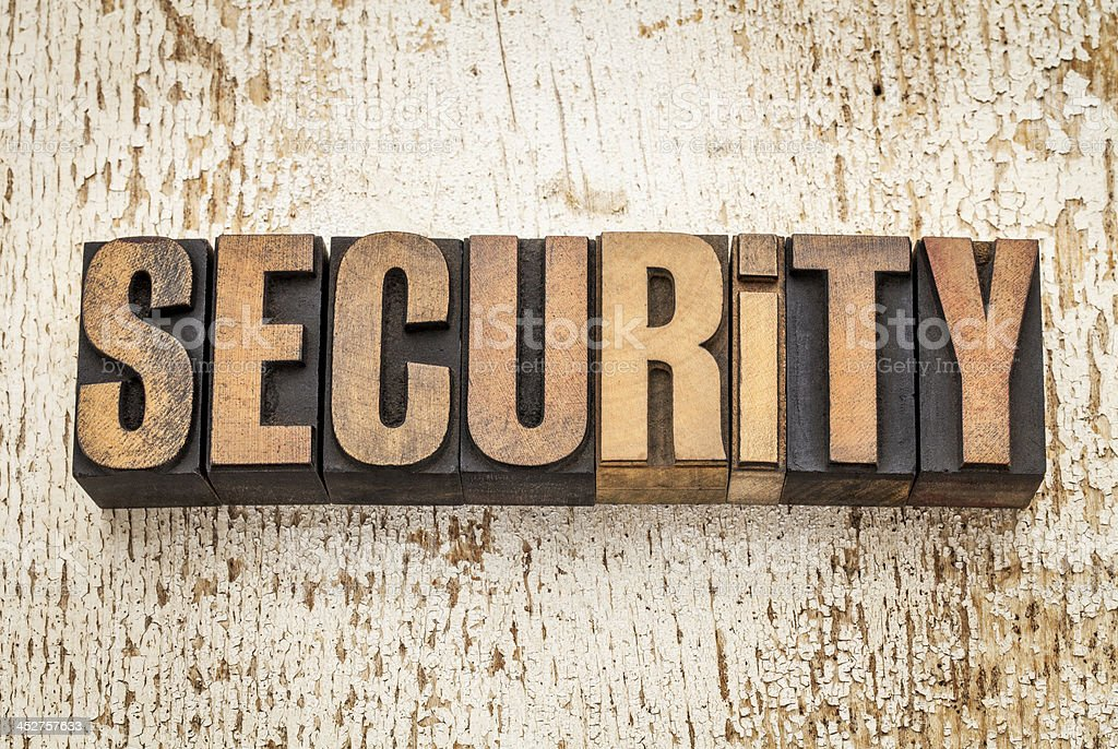 security word in wood type royalty-free stock photo