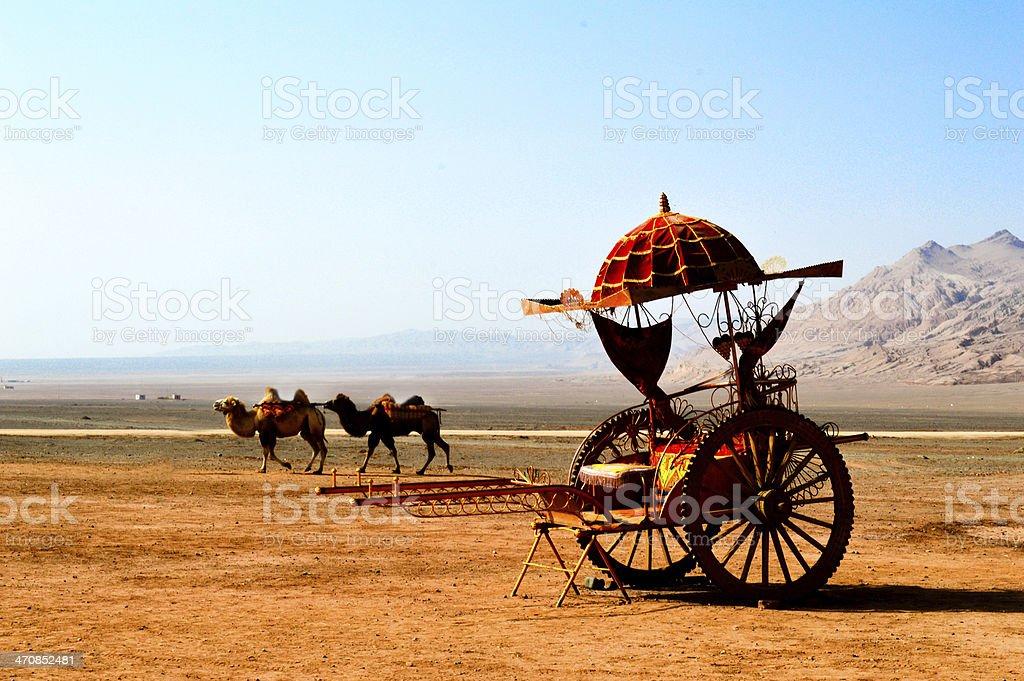 Sedan chair on the Taklimakan Desert stock photo