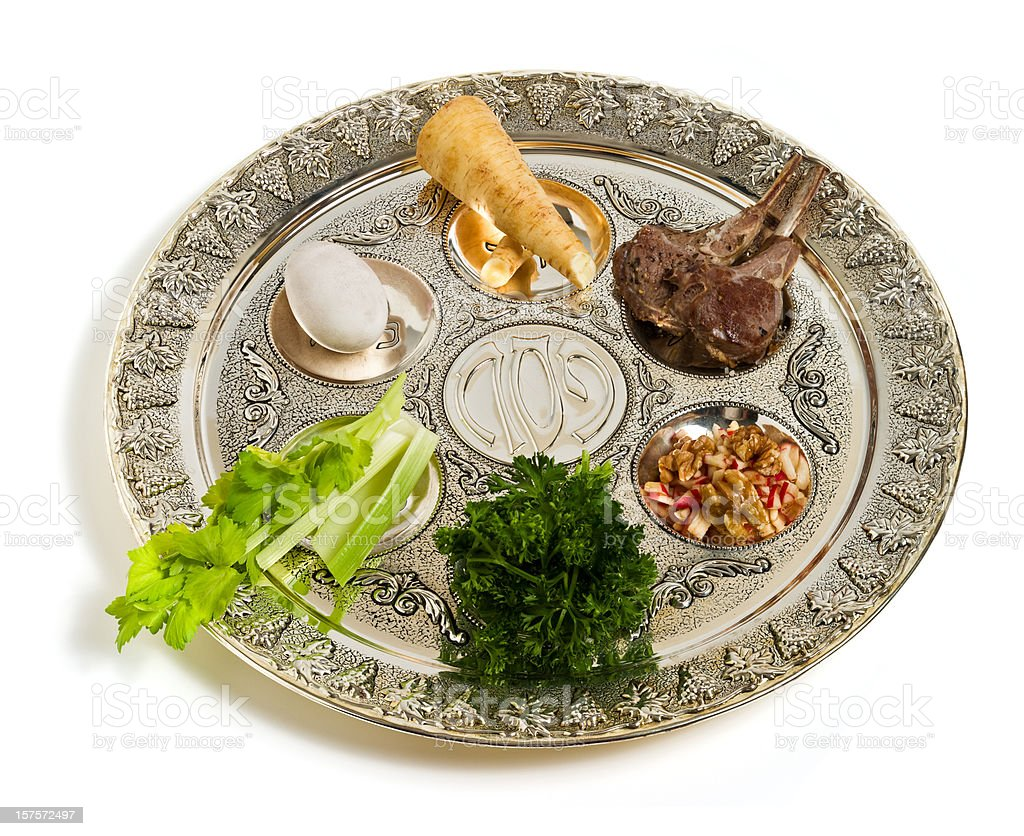 Seder plate, angle view royalty-free stock photo