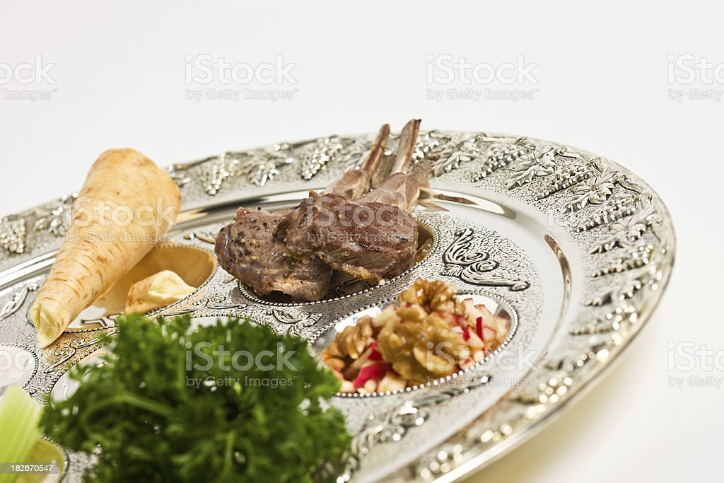 Seder plate stock photo