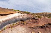 Sediment layers near de road at Teide National Park, Tenerife.