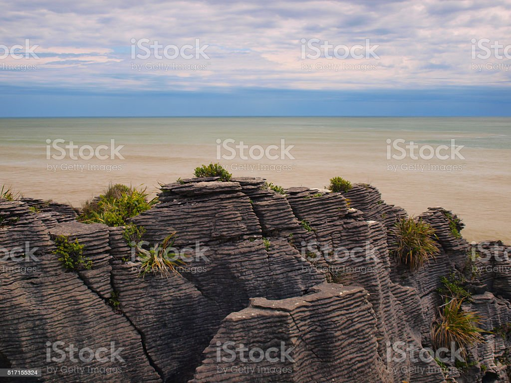 Sedimentary Pancake Rocks New Zealand stock photo