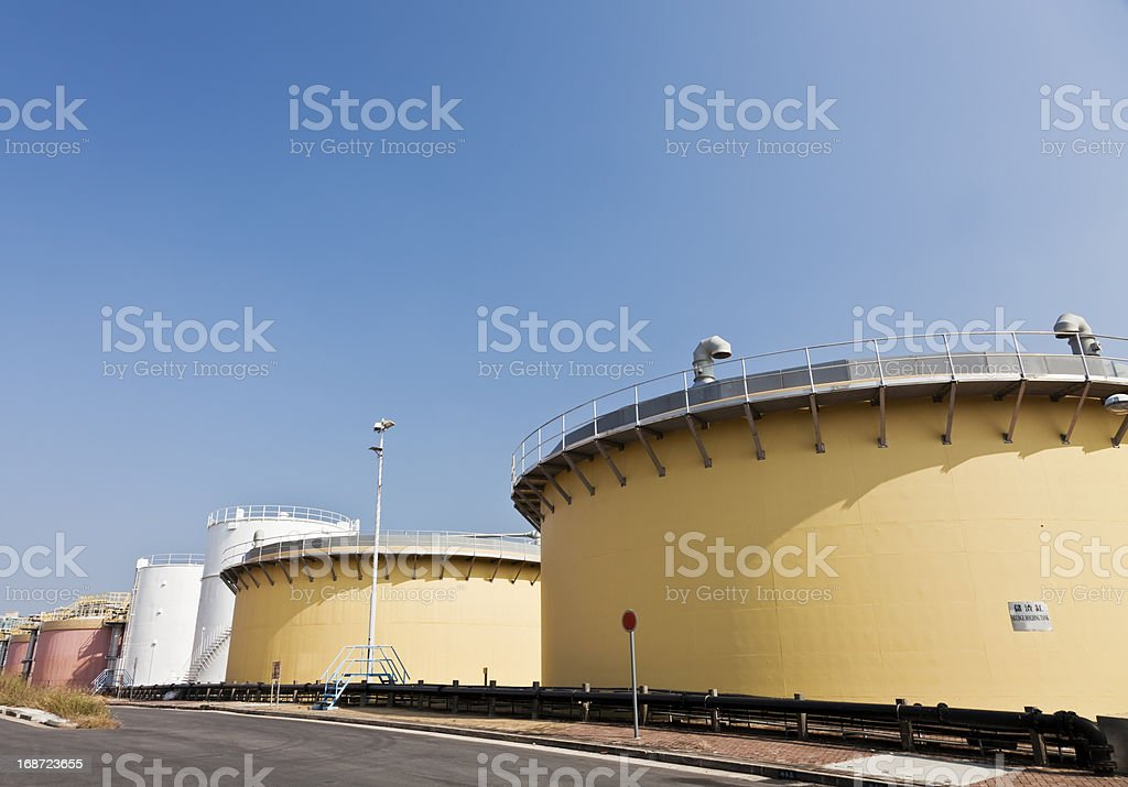 Sedimentation tanks in a sewage treatment plant, with copyspace royalty-free stock photo