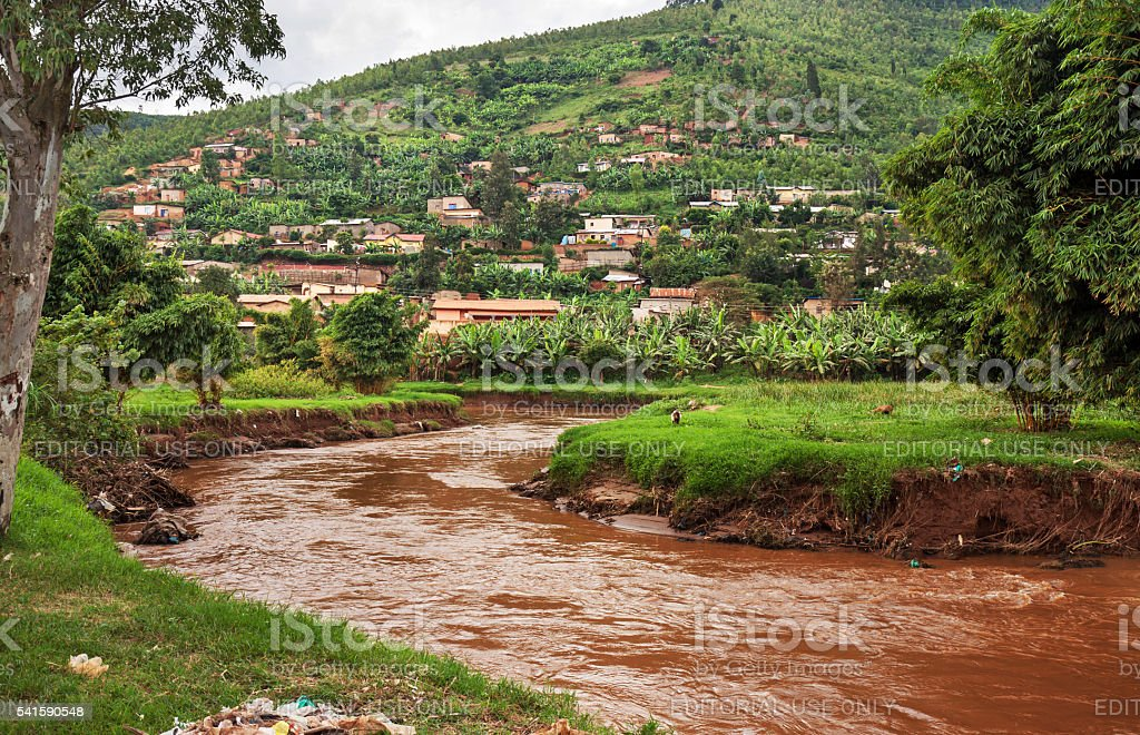 Sediment-loaded river in Rwanda stock photo