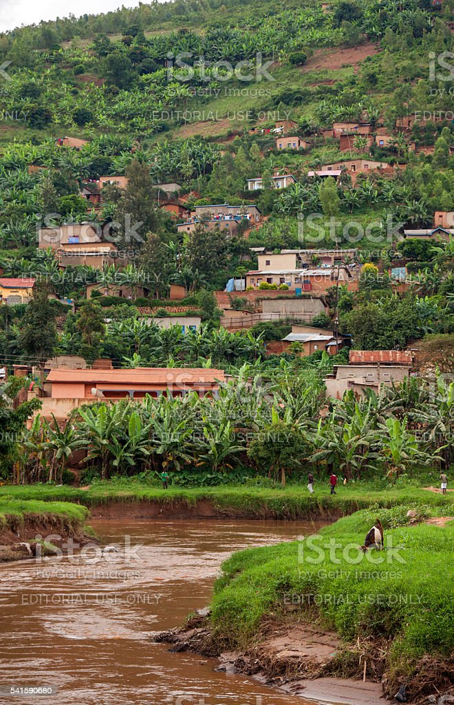 Sediment-loaded river in Rwanda stock photo