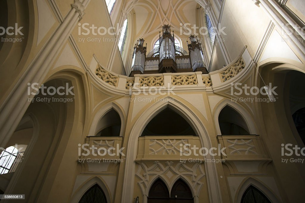 Sedlec Cathedral arches and Organ Instrument stock photo