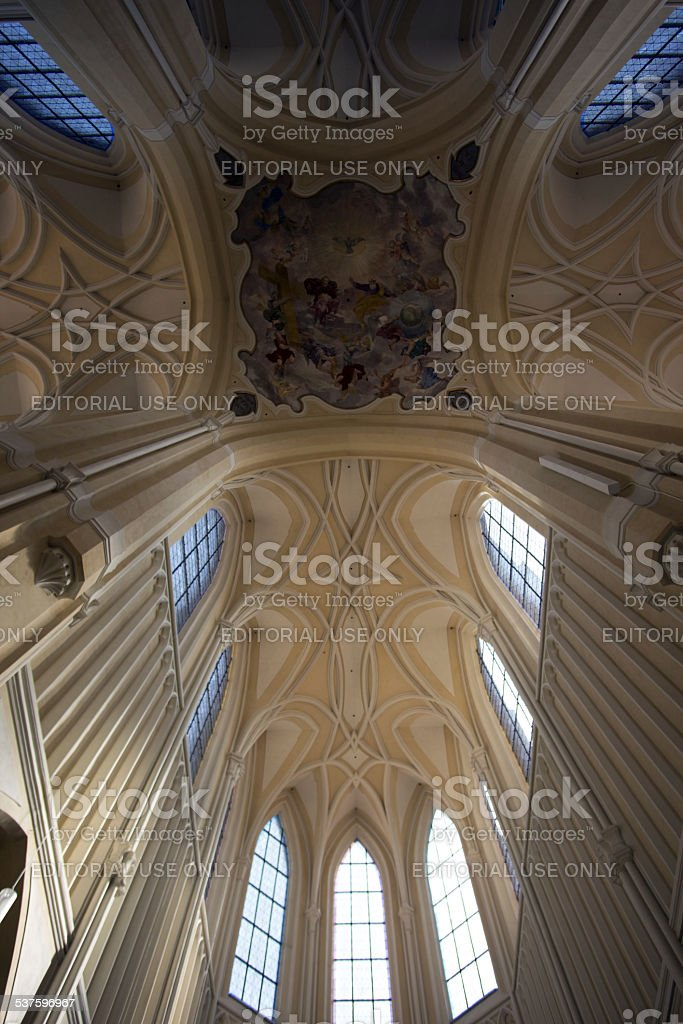 Sedlec Cathedral Interior ceiling and windows stock photo