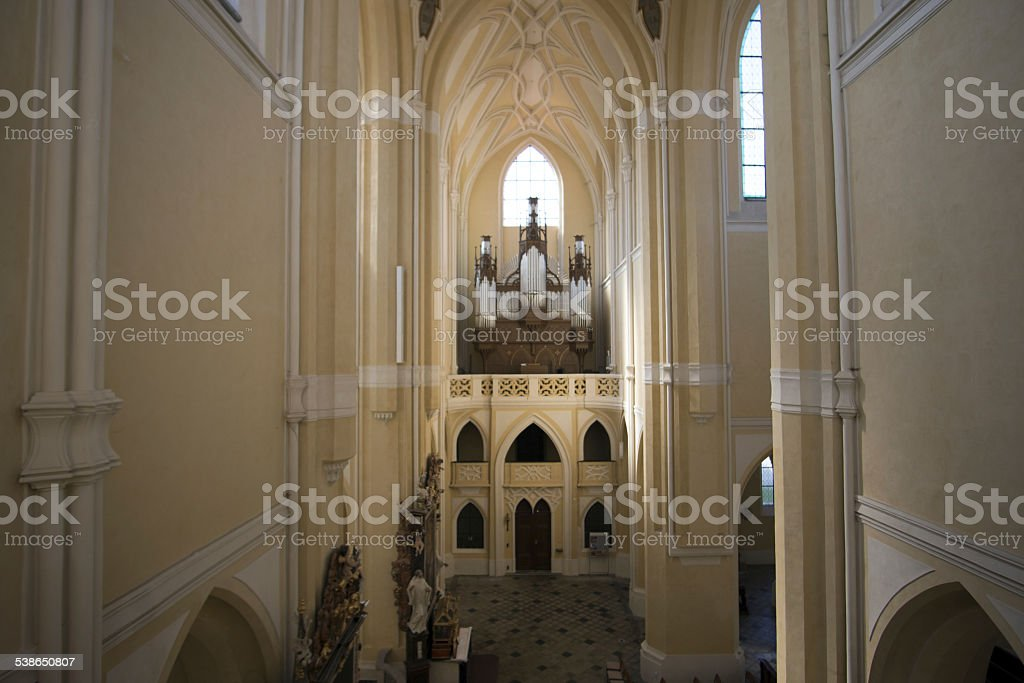 Sedlec Cathedral Interior hall stock photo