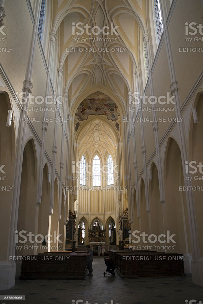 Sedlec Cathedral tourists stock photo