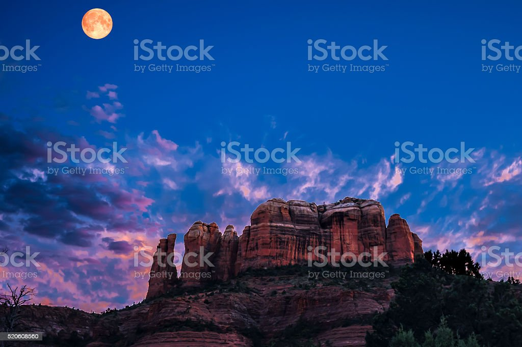 Sedona, Arizona - Cathedral Rock Twilight stock photo