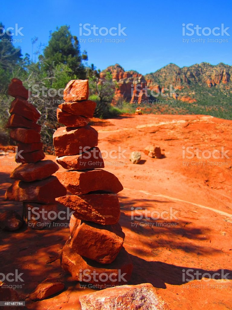 Sedona AZ Balancing Hoo Doo Rocks stock photo