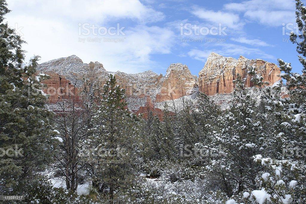 Sedona snow stock photo