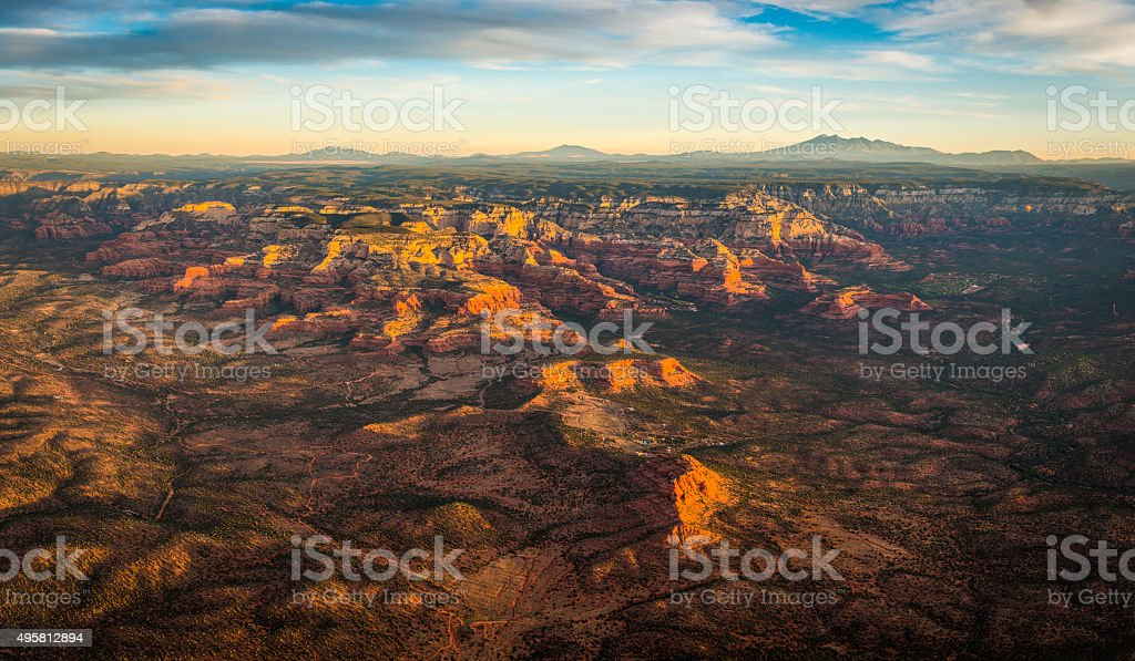 Sedona sunrise aerial view over Red Rock Country Arizona USA stock photo