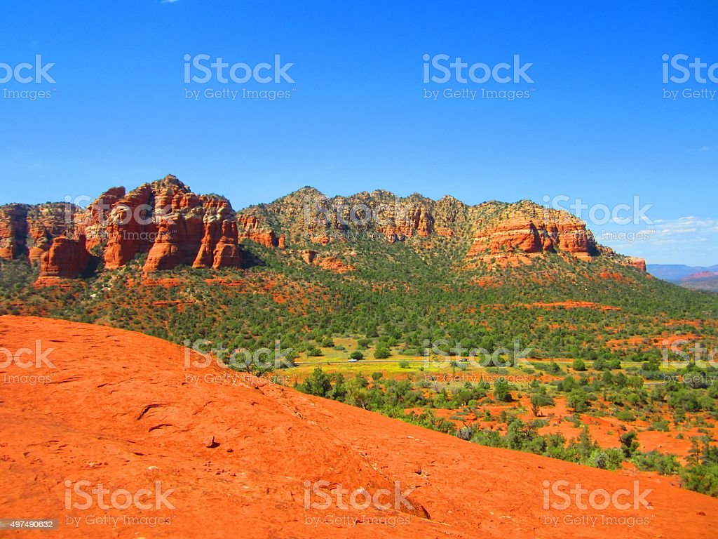 Sedona Vista of Red Cathedral Rocks stock photo
