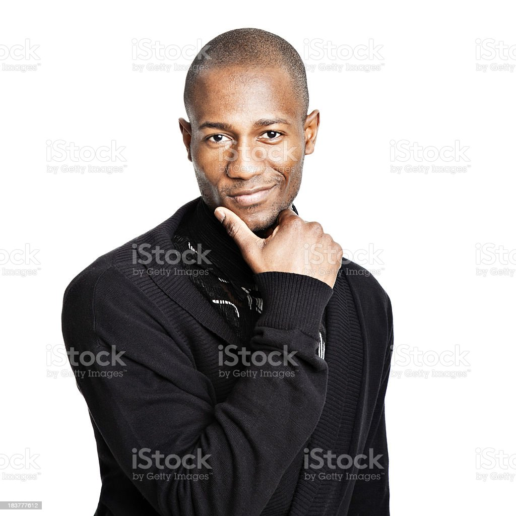 Seductive African American man thinking royalty-free stock photo
