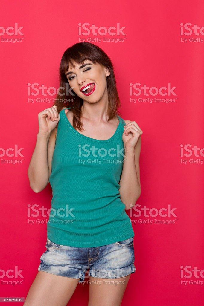 Seductive Girl Blinks Her Eye stock photo