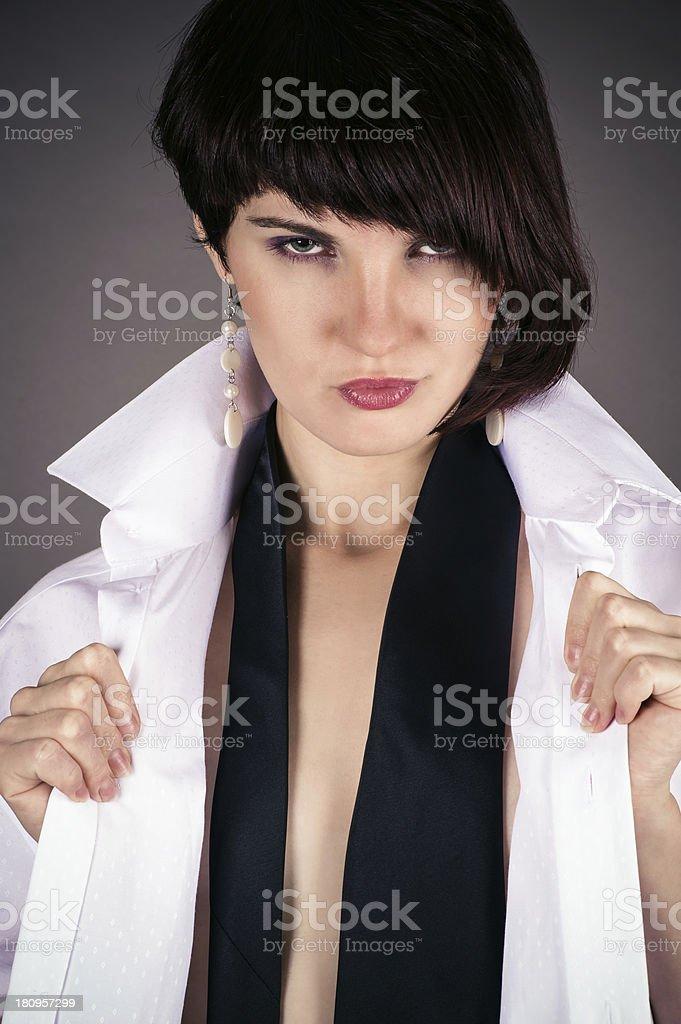 seductive woman in a man's shirt royalty-free stock photo
