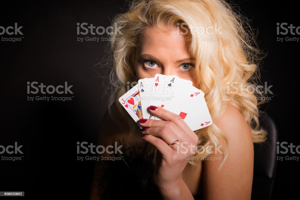 seductive woman showing her cards stock photo