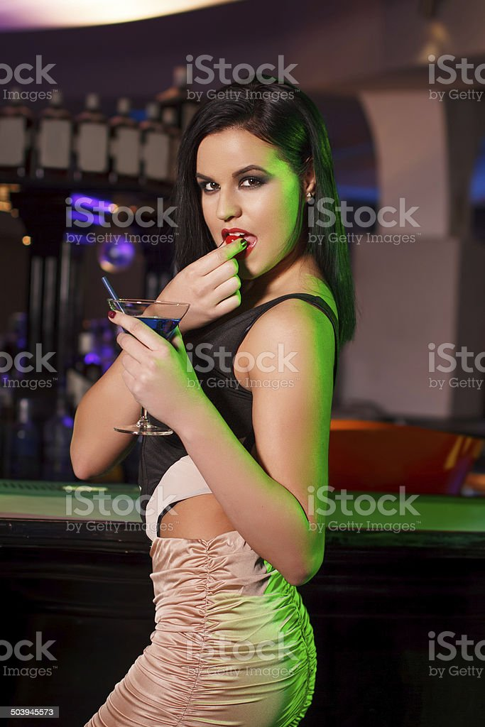 Seductive woman with cherry royalty-free stock photo