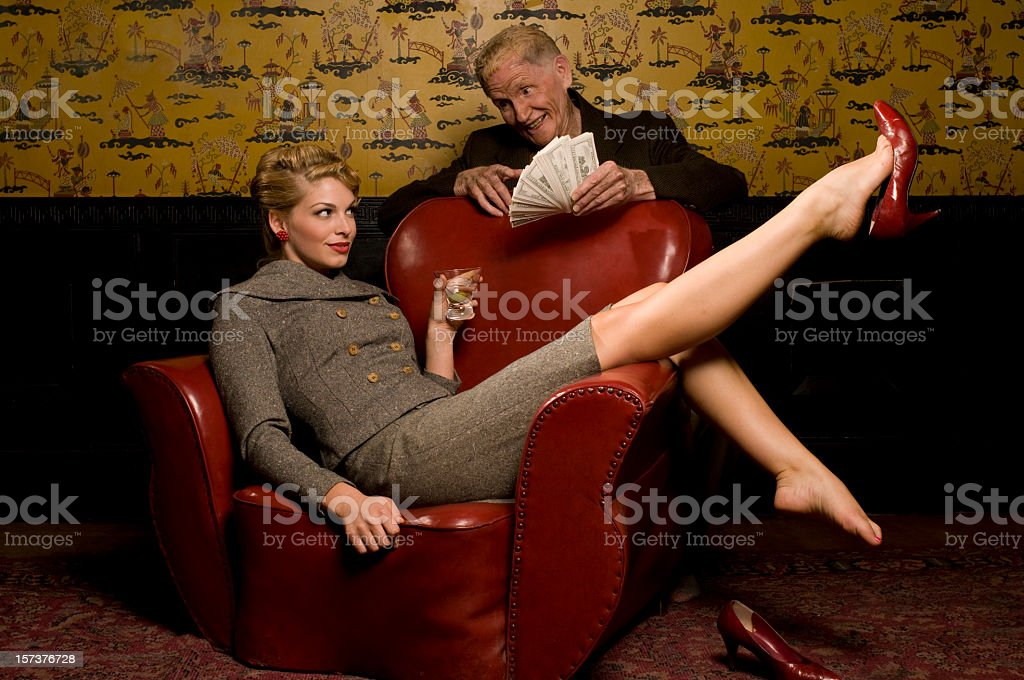 Seductive Women and Old Man stock photo