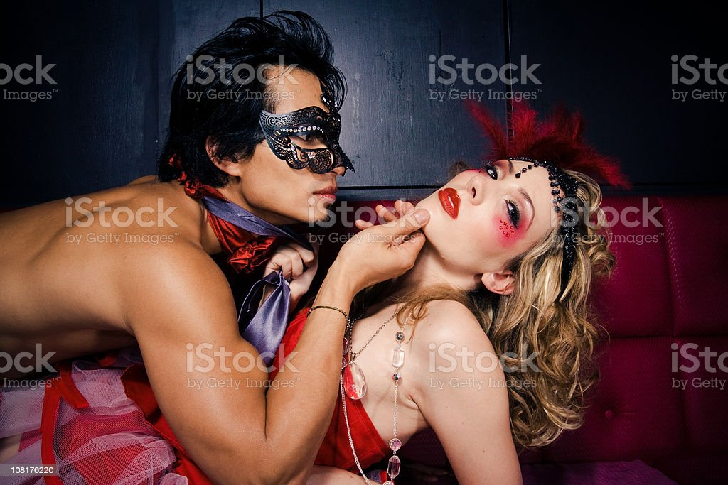 Seductive Young Man and Woman in Costume royalty-free stock photo