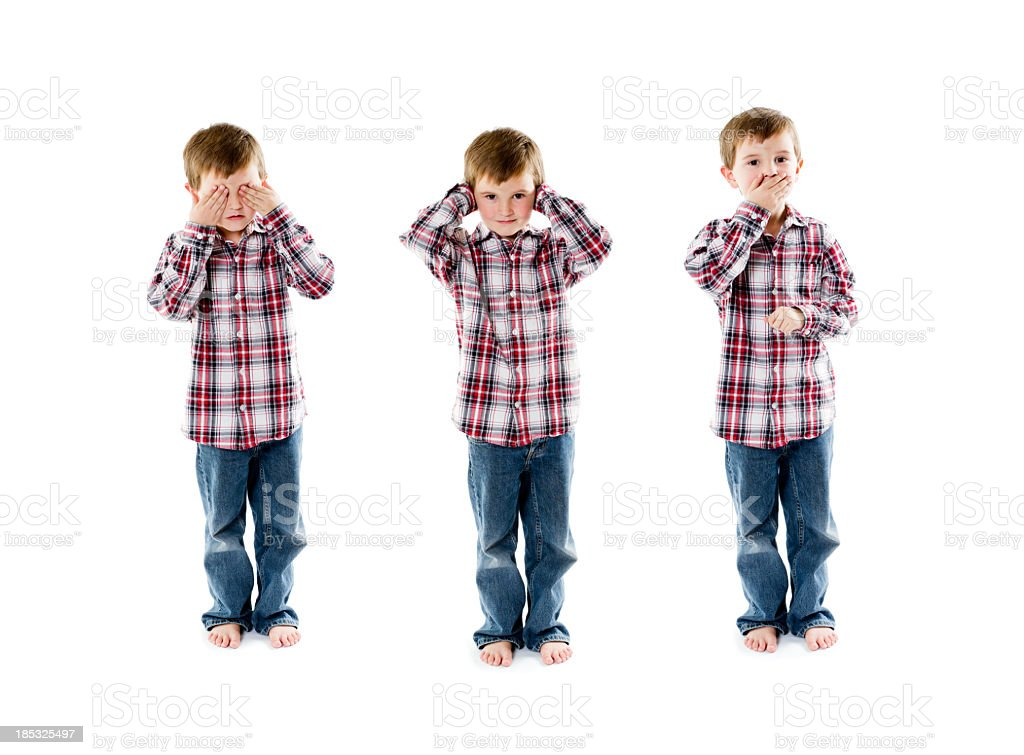See hear and speak no evil stock photo