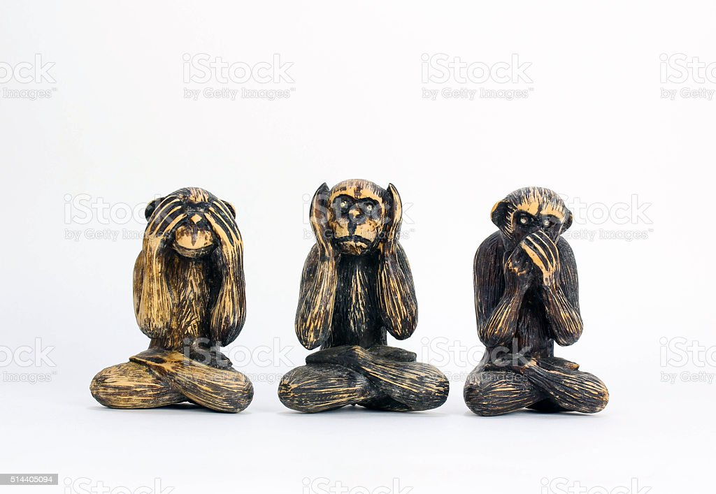 See, Hear, Speak No Evil, Carved Monkies stock photo