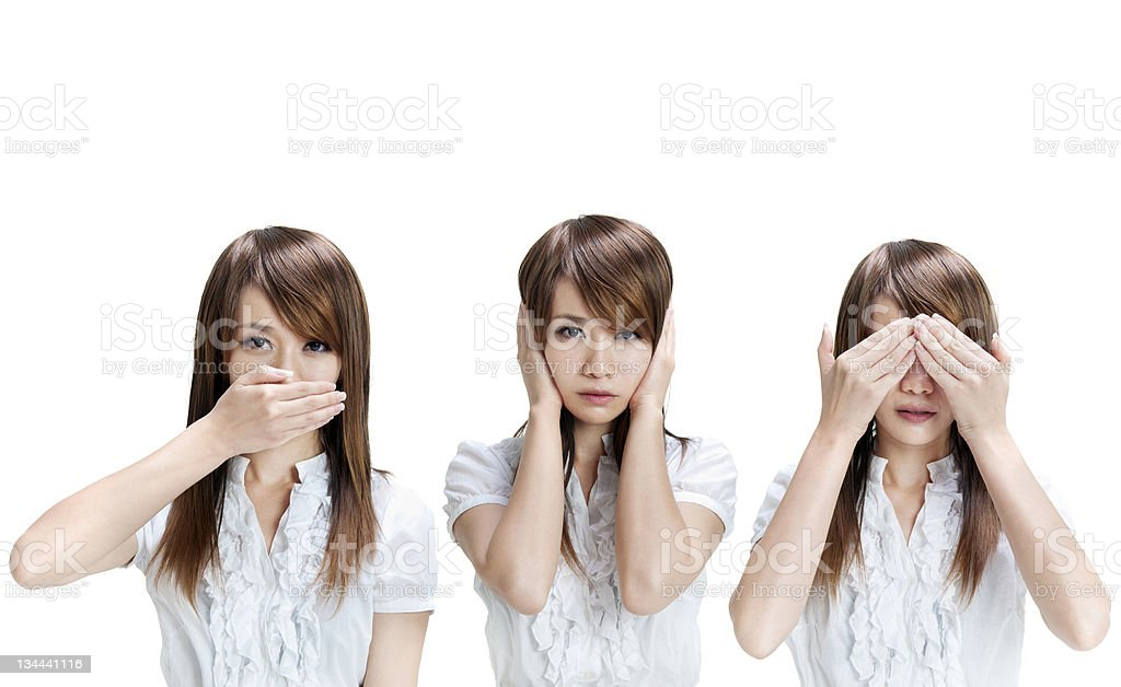 See, hear, speak no evil royalty-free stock photo