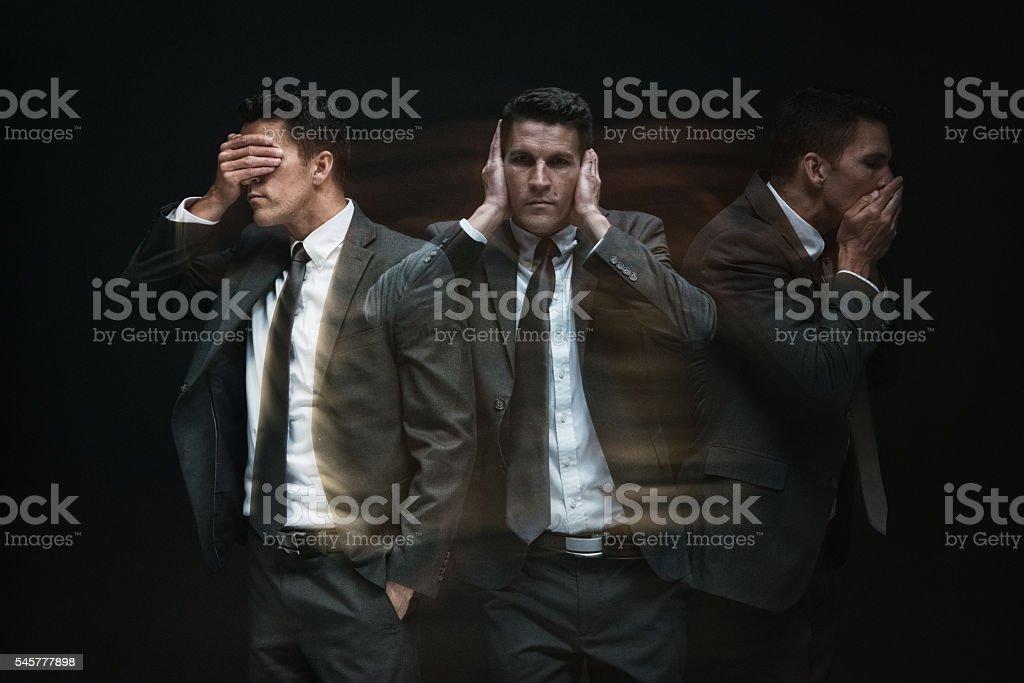 See, hear, speak no evil stock photo