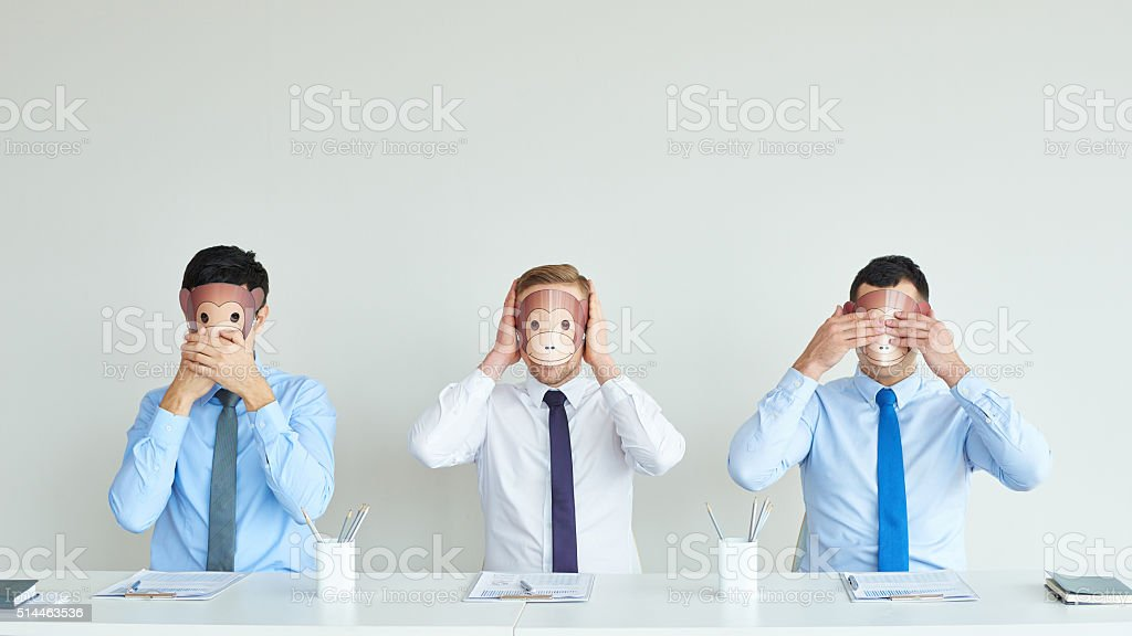See no evil, hear no evil, speak no evil stock photo