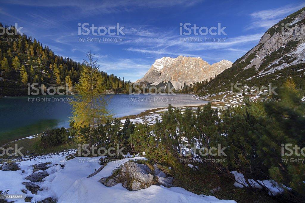 Seebensee and Zugspitze stock photo