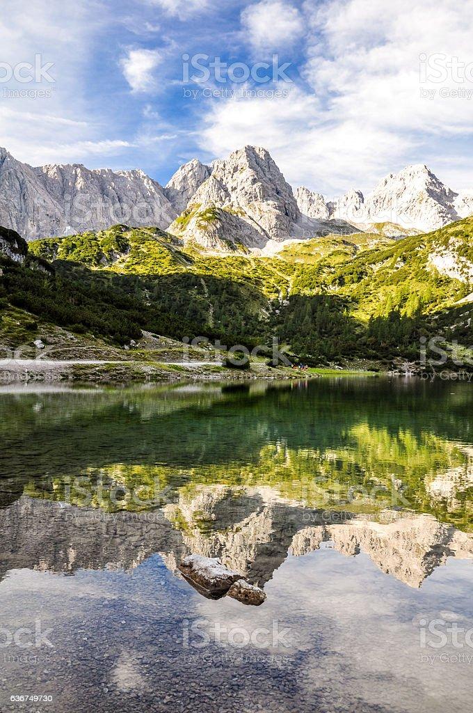 Seebensee lake and Vorderer Drachenkopf mountain - Tyrol, Austria stock photo