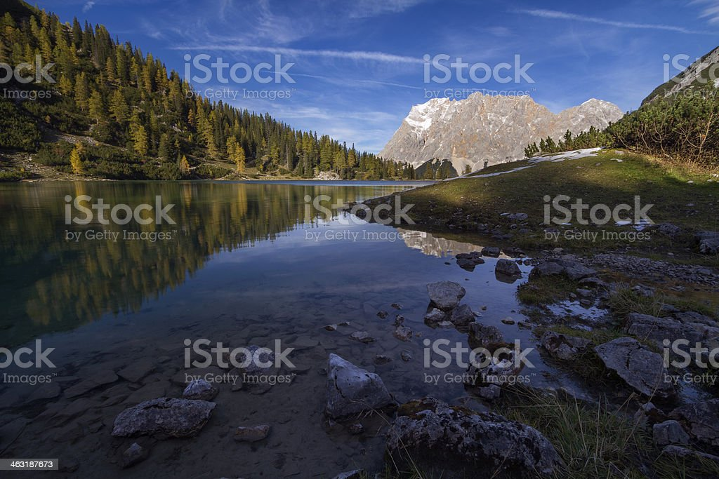 Seebensee with Zugspitze royalty-free stock photo