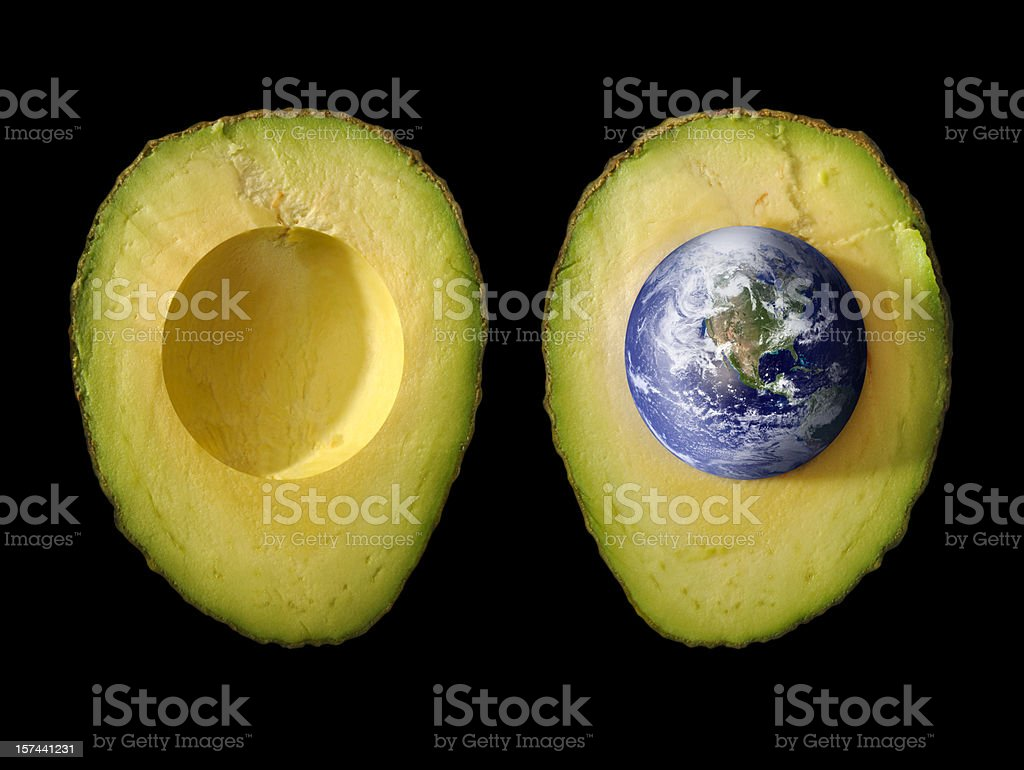 Seed of Life; Planet Earth as Pit in Green Avocado stock photo