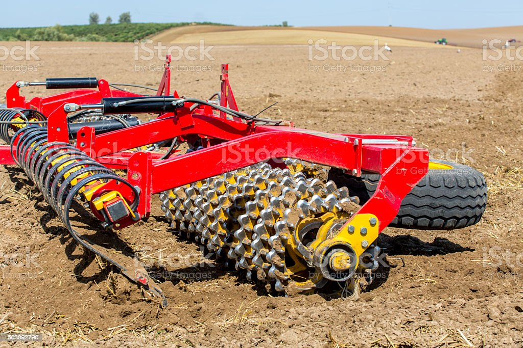 Seedbed machinery close view stock photo
