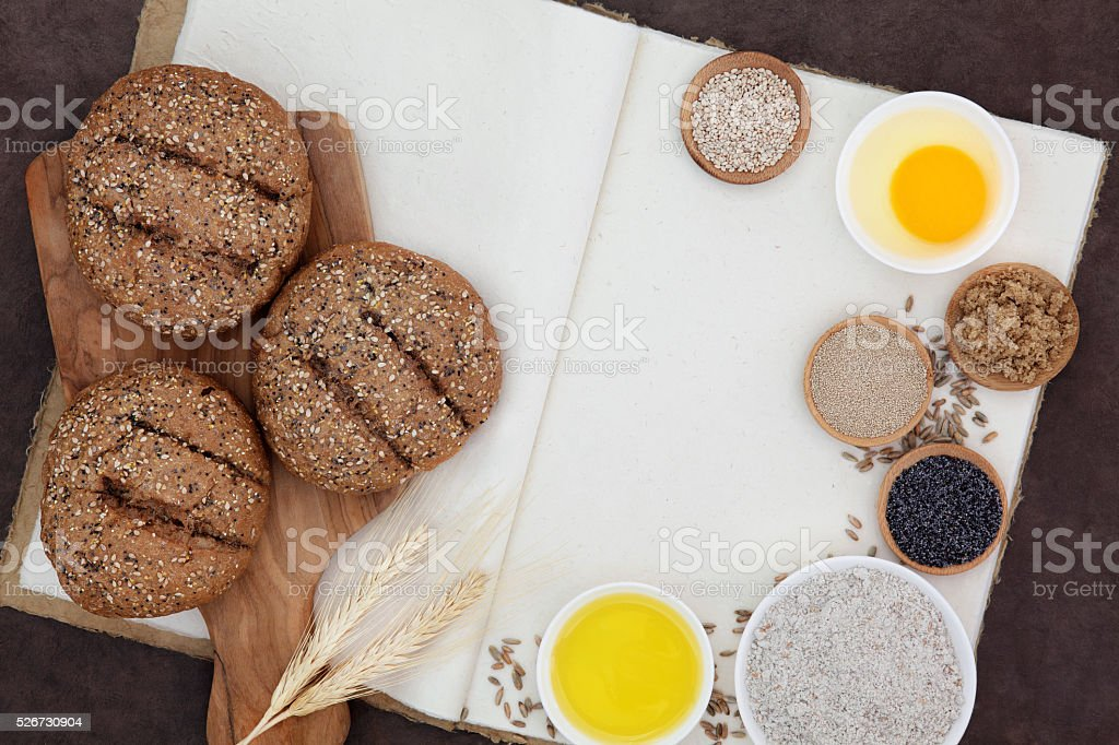 Seeded Brown Rolls and Ingredients stock photo