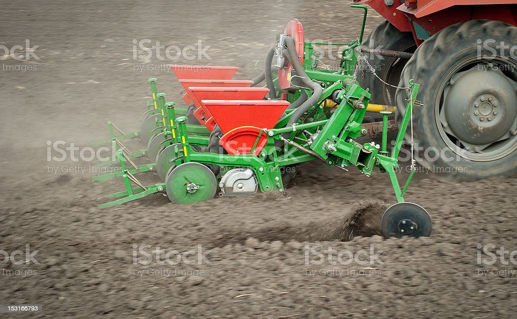 seeding field in spring royalty-free stock photo