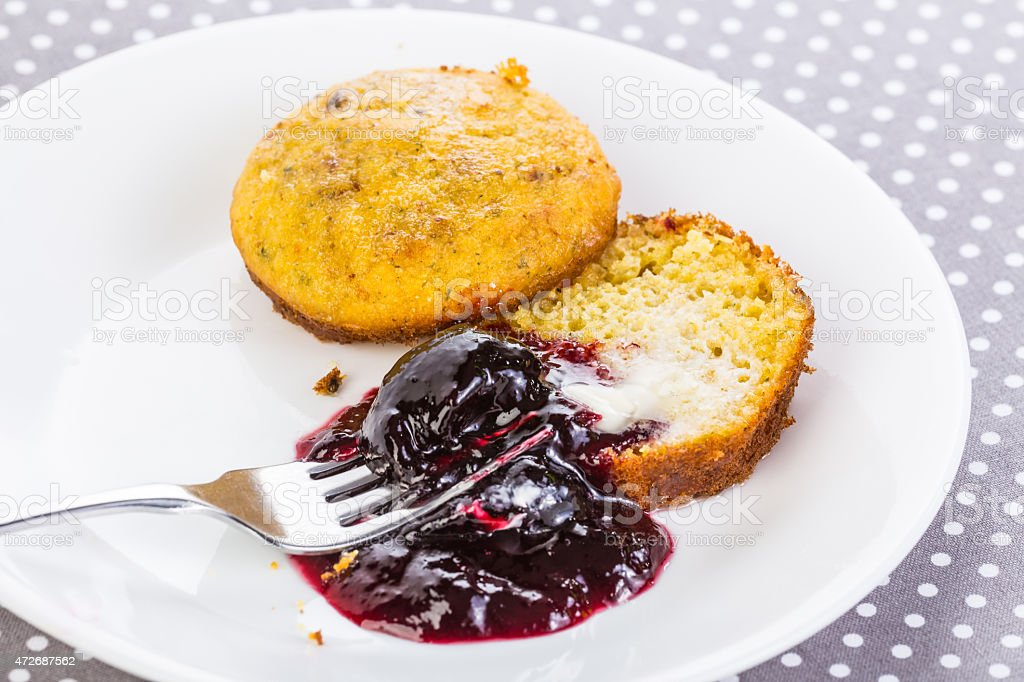 Seedless Blackberry Jam on Buttered Cornbread stock photo