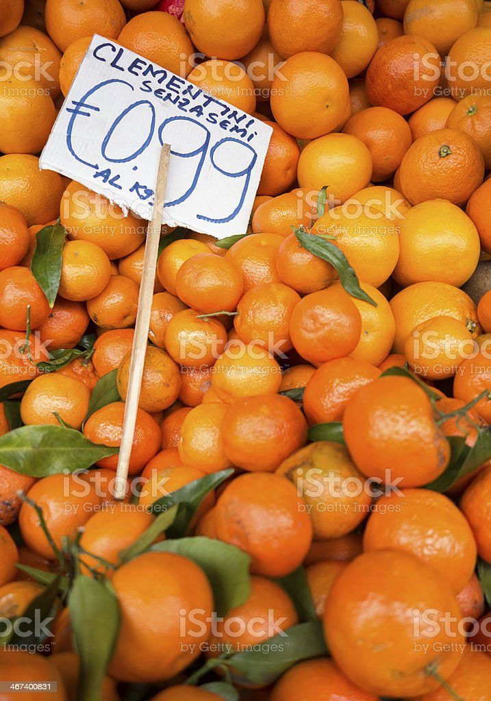 Seedless Clementines with price sign on display in Rome, Italy royalty-free stock photo