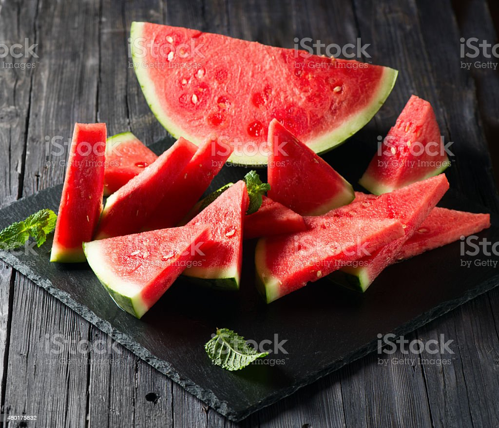 Seedless Watermelon Cut into Wedges stock photo