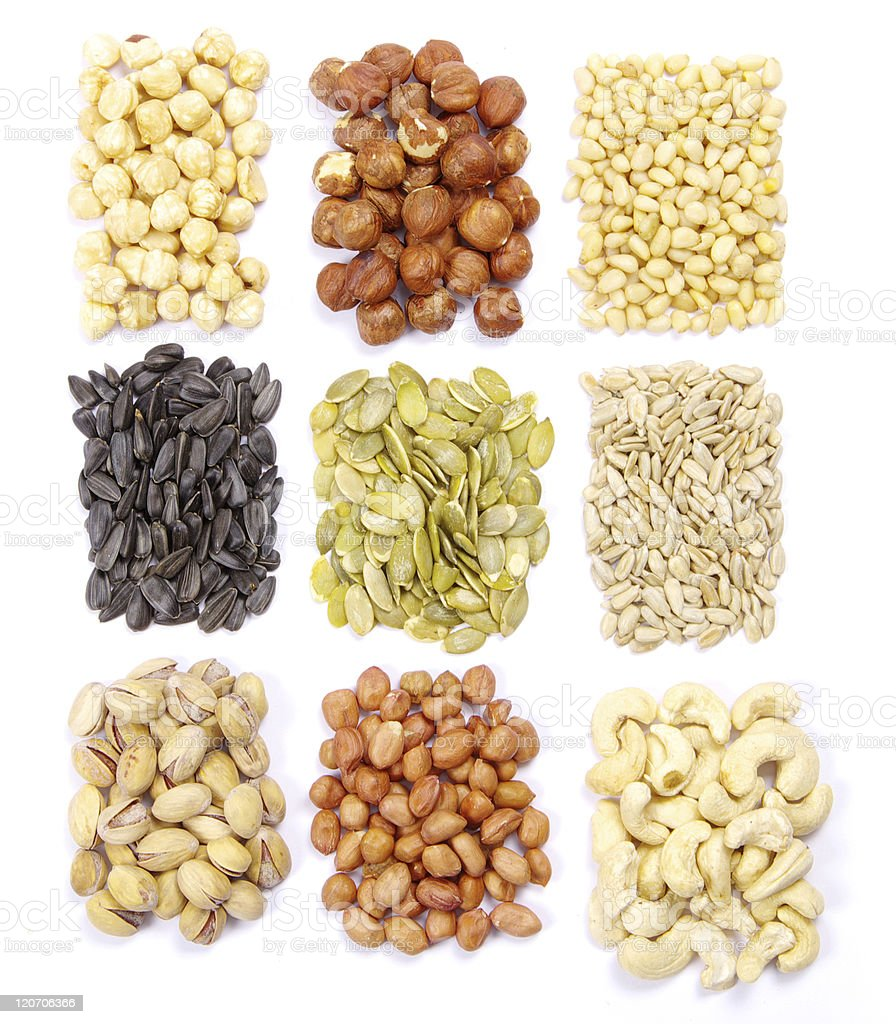 seeds and nuts collection royalty-free stock photo