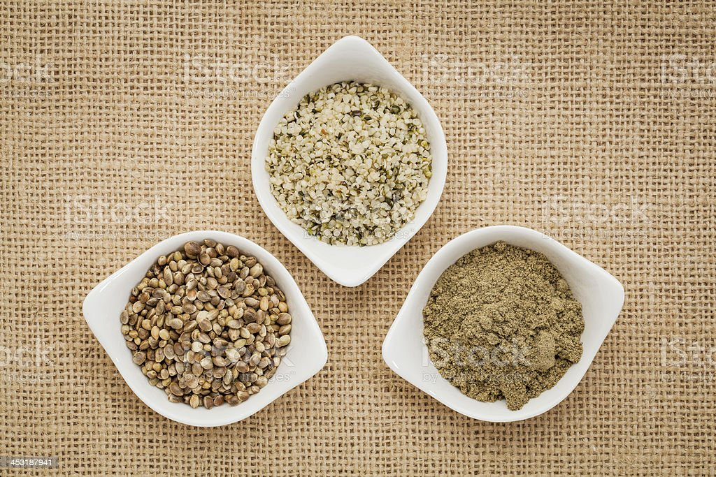 seeds, hearts and hemp protein stock photo